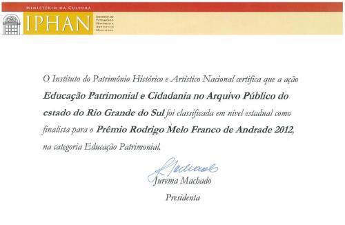 APERS - Certificado Prêmio Rodrigo M. F. de Andrade