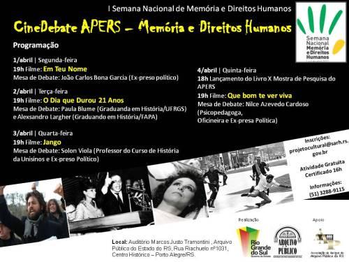 2013.03.26 APERS Cartaz I Semana Nacional de Memória e Direitos Humanos