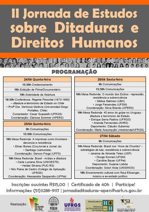 2013.03.27 II Jornada  Estudos sobre Ditaduras e DH APERS - Programação