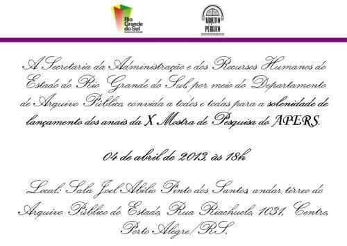 2013.04.03 Convite Lancamento Anais X Mostra Pesquisa APERS
