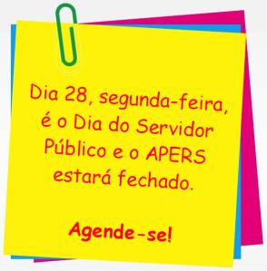 2013.10.23 Apers não abrirá no dia do servidor público
