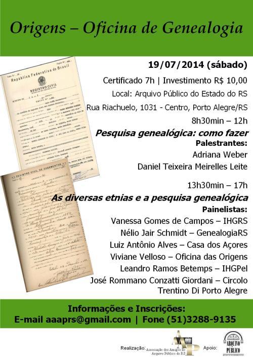 2014.07.02 Oficina Genealogia - Cartaz