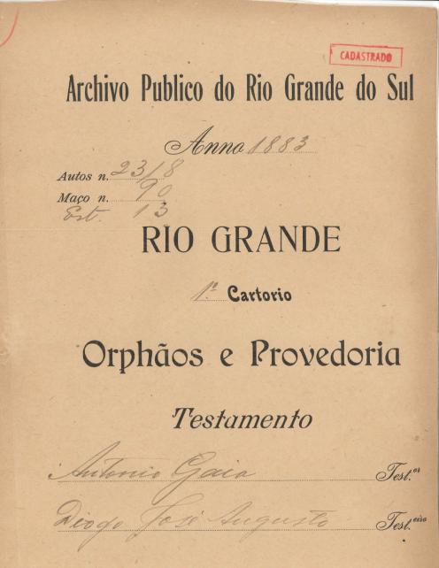 Testamento Antonio Gaia - Capa