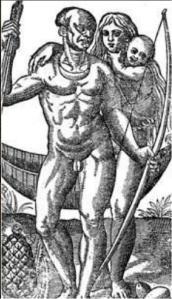 Gravura de Theodore de Bry para o livro de Hans Stade (1557) - Viagem à terra do Brasil.