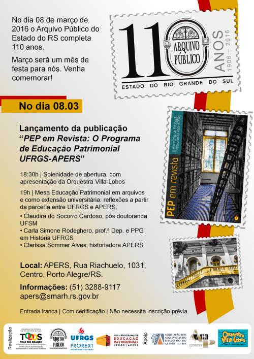 Cartaz 110 anos Lançamento PEP final