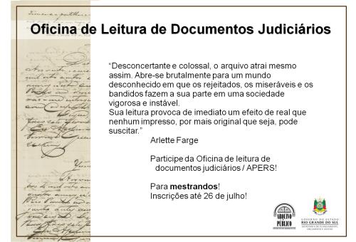 2019.07.17 Oficina Leitura Docs Judiciais Cartaz 2